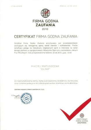 Certyfikat Firma Godna Zaufania 2016 Olimp